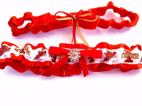 ~ Iowa State Cyclones bridal garter set, perfect for Iowa State football fans looking to include their favorite team in their wedding. Iowa State