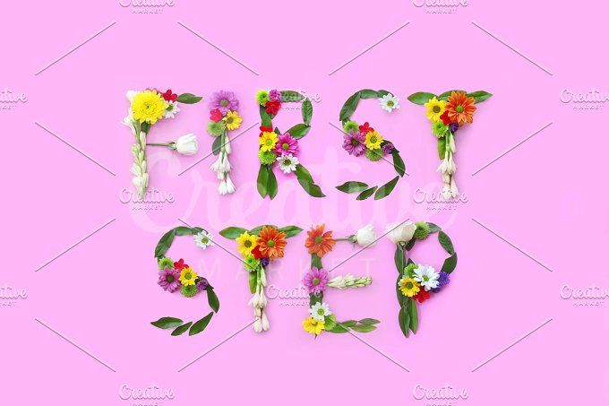First stap. FLowers composition by Trefilova Anna on @creativemarket