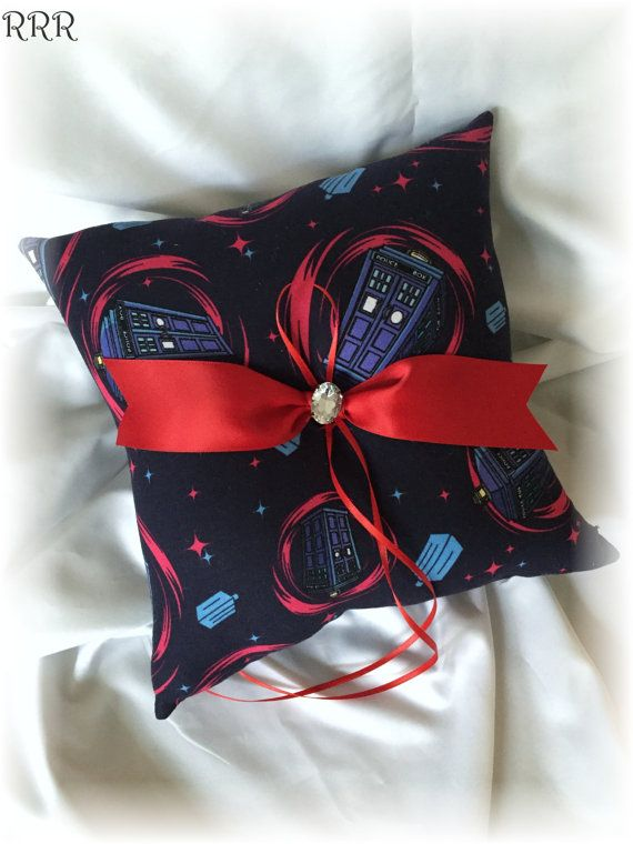 Doctor Who Wedding Ring Bearer Pillow Navy Dr Who by RammaRuRu