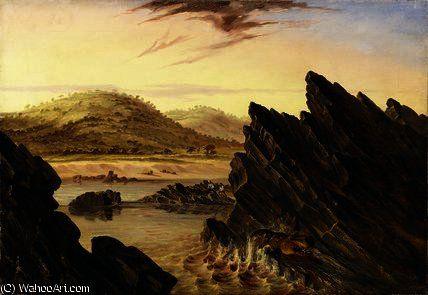 Hippopotame blessé ci-dessus Kebrabasa de Thomas Baines (1820-1875, United Kingdom)