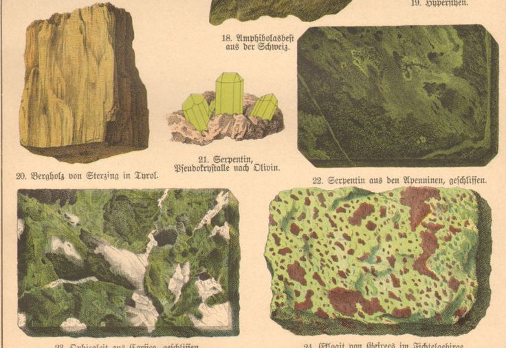 1888 Antique MINERALOGY Print German GEOLOGY ROCKS Original Chromolithograph by catladycollectibles on Etsy