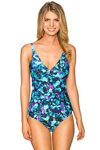 Sunsets 86T Apron Open Back Tankini w/ Underwire & Removable Cup, Sea Glass  Size