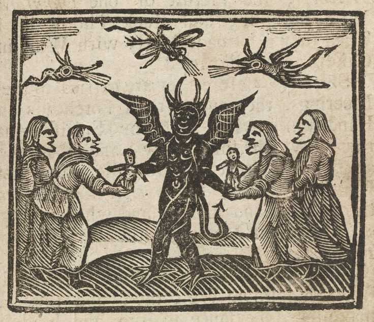 Centuries Past, Witches presenting wax dolls to the devil,...