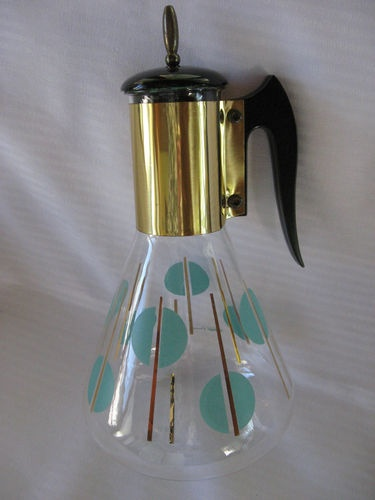 Vintage Pyrex Corning Glass Coffee Carafe Gold Turquoise Polka Dots ..Sold for $23