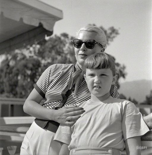 Actress Lana Turner and daughter Cheryl Crane, who seven years after this photo was taken, had a fatal run-in with her mother's gangster boyfriend.