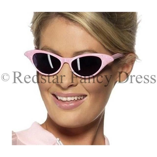 PINK LADIES FANCY DRESS GLASSES GREASE SANDY 50 S 1950S ROCK AND ROLL COSTUME