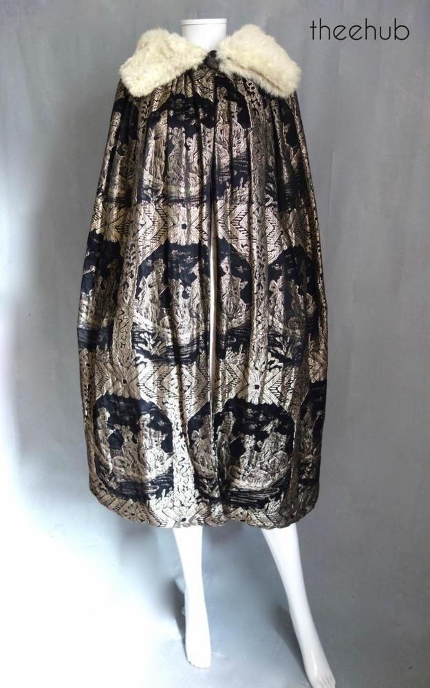 Spectacular Gold Lame Silk Vintage 1920s Cape in the style of Poiret Raoul Dufy