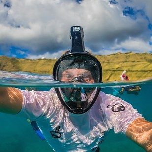 A full-face snorkel mask with a GoPro mount, $165