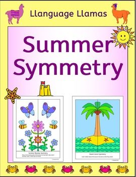 Symmetry - Summer. 18 pages of NO PREP fun summer symmetry activities - perfect for math centers, morning work or fast finishers. Great for a summer project. This  symmetry pack contain 6 summer pictures *  a desert island, *  a beach koala, *  a cool cat, *  a sunflower, *  an ice cream,*  a summer meadow.