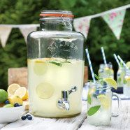 Drinks Dispenser Kilner Garden Party 8ltr. • Cold beverage dispenser • Material: Soda-Lime glass • Metal clip top lid with rubber seal • Ideal for serving cold drinks at BBQs, parties or buffets • Perfect for juice, cocktails or soft drinks • Durable construction • Embossed Kilner logo • Does not retain stains or odours • Dishwasher safe. Order at +353 (1) 687 5066