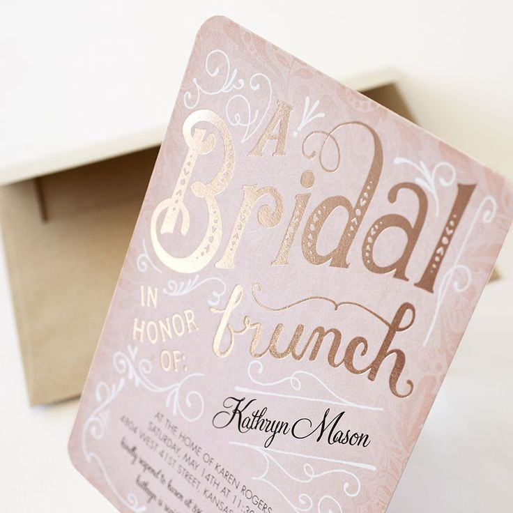 Foil accents lend a look of prestige to your bridal shower invitation.