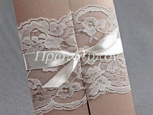 Wedding Invitation with lace & ribbon by Prototypon
