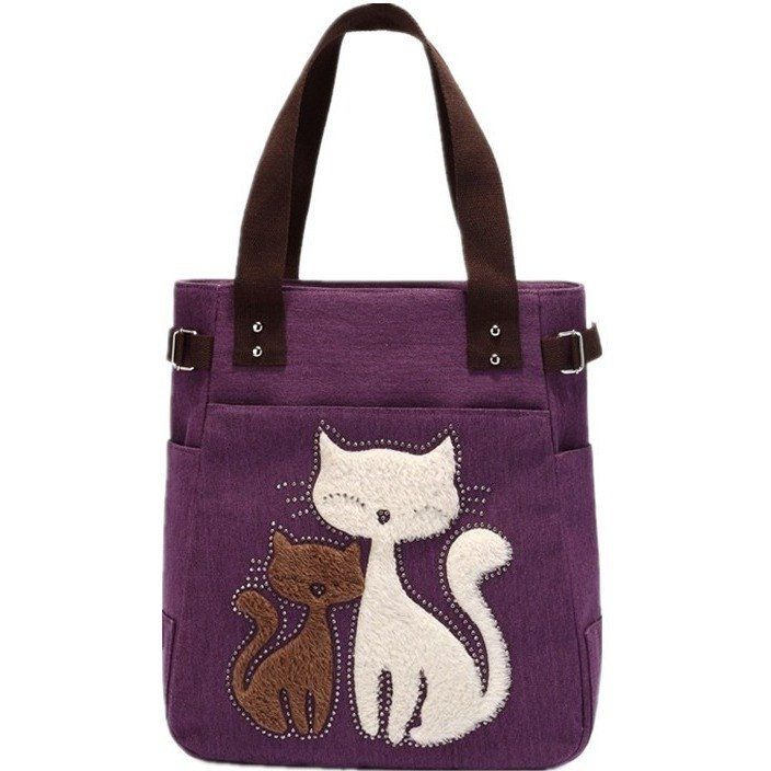 Canvas Bag With Cat Pattern
