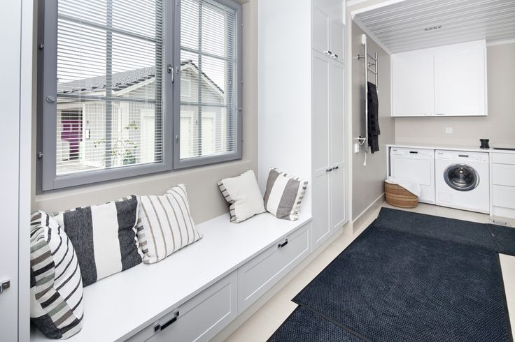 """Oh, loving that bench... This style could actually work really well in the """"kodinhoitohuone"""". The taller cabinets should be shallow and placed to the other wall (ritght hand as seen from shower door). Add out-sliding worktop extension below the worktop (for mangling)."""