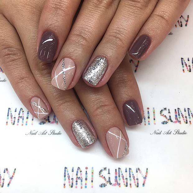 Simple and Chic Nail Design with Silver Glitter Accents #glitternails #shortnails