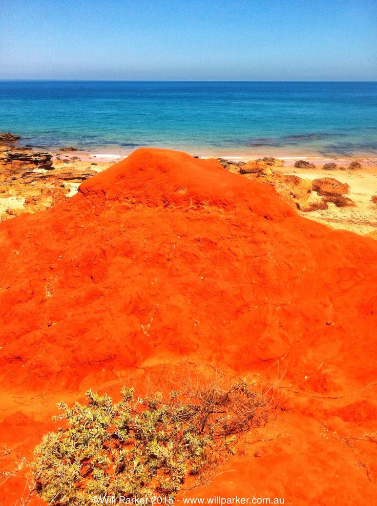 The red dirt is called Pindan and it goes all the way to the sand. Where the desert meets the sea, Broome, Western Australia