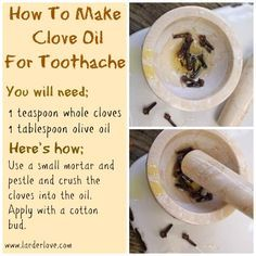 """Homemade Clove Oil for Toothaches : """" Cavities often cause tooth pain, along with fillings that have come loose, a cracked tooth, an abscess (a pocket of infection at the gum line), or a sinus condition. Until you can see the dentist, this Homemade Oil of Cloves recipe / remedy may help provide toothache relief. […]"""