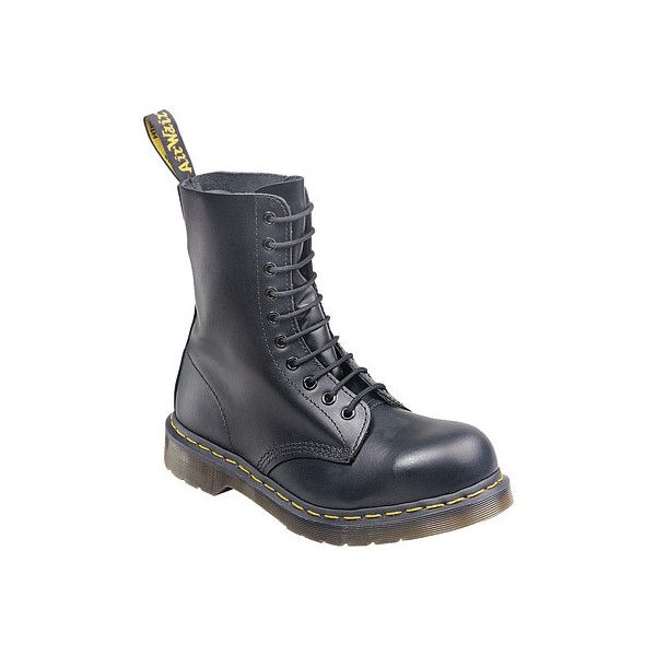 Dr. Martens 1919 10-Eye Steel Toe Boot ($140) ❤ liked on Polyvore featuring shoes, boots, black, black cap toe boots, steel boots, slip resistant shoes, black lace-up boots and lace up boots