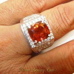Cincin Pria Silver Ring 9.5US Batu Permata Garnet Orange 4.00 carat