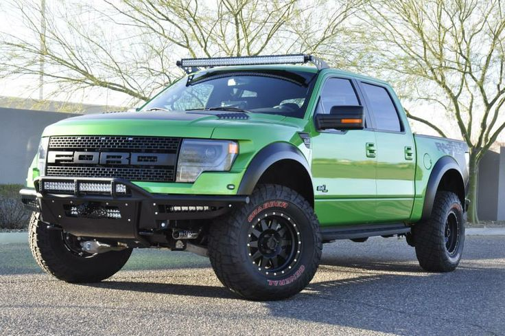 """2013 Ford Raptor aka the """"green machine"""". People talk about """"needing"""" something, well, I'm not joking when I say I NEED this pickup. It's my kin. ;P"""