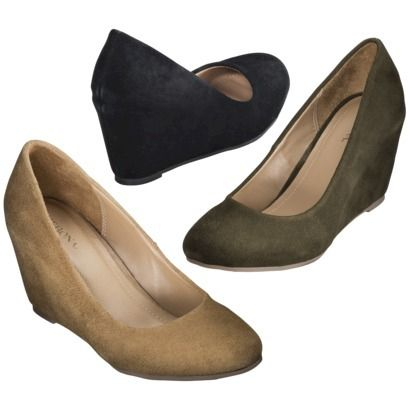 Bought the tan today! It was the last one in my size...super comfortable and low wedge heel! I have a black pair similar to this, but I'm also loving the green for fall. So cute! Target Mackenzie Suede Wedge Pumps