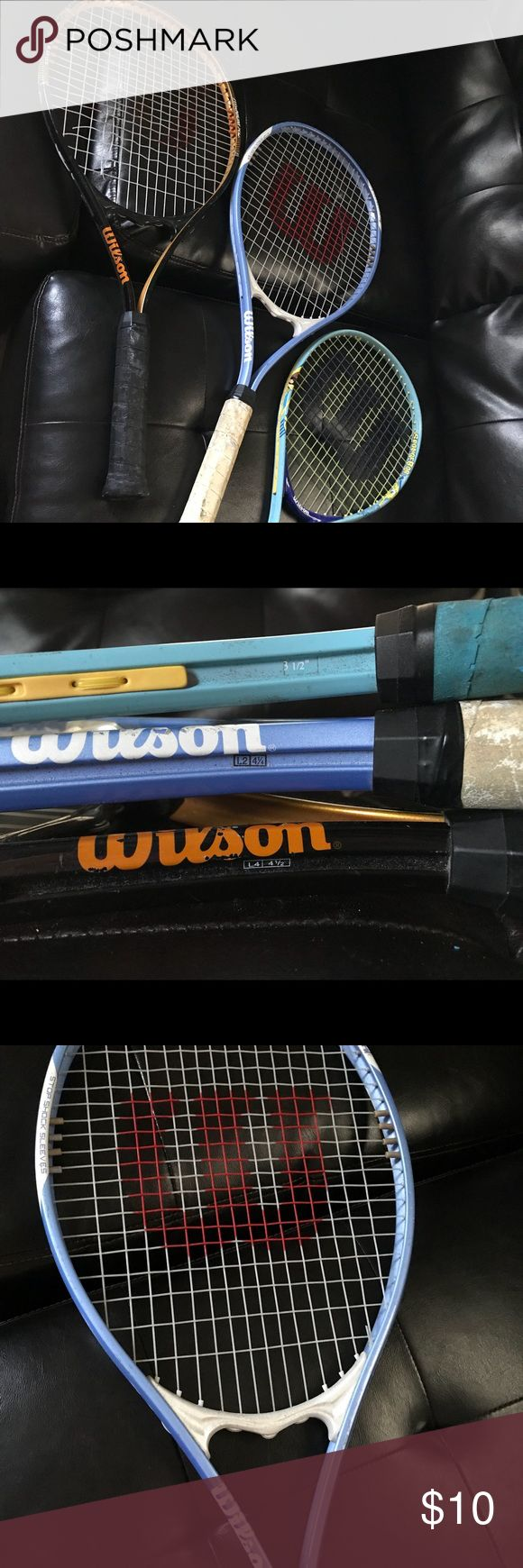 3 Wilson Tennis Racquets Bundle deal 3 Tennis Wilson racquets. 1 Black Triumph Stop Shock sleeves- V-Matrix L4 -4 1/2 is the only one with some broken lines, 1 Baby Blue triumph stop shock sleeves-V-Matrix L2 -4 1/4, and 1 Sponge Bob 3 1/2. All 3 preowned, a bit dusty but has lots of play to live!! #wilsontennisracquets #tennis #racquets Wilson Accessories