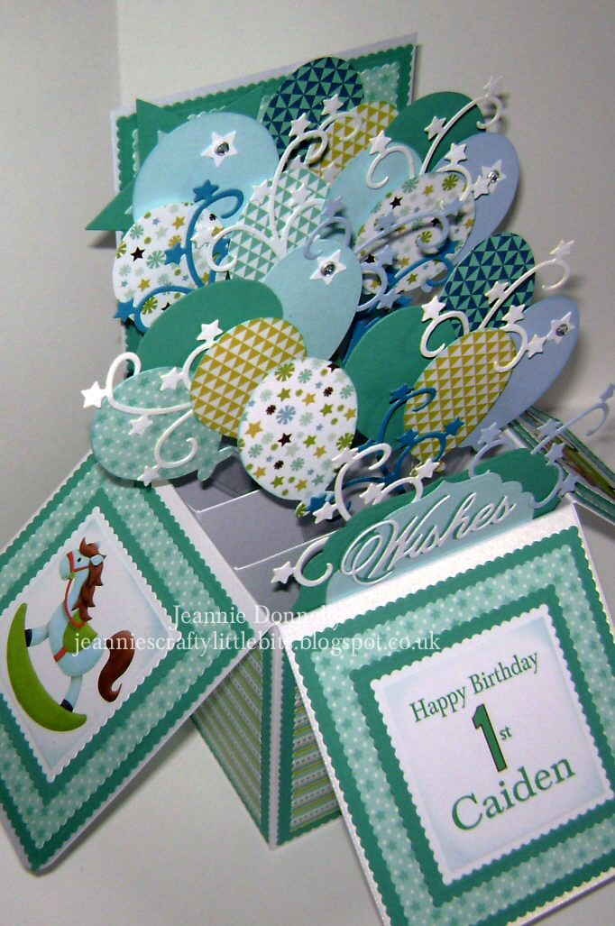 1st Birthday Card in a Box - Sizzix Balloons and Stars, Cheery Lynn Wishes, Tonic Scalloped Squares, digi images from Nitwitcollections, and digi papers by #Sweet Shoppe Designs