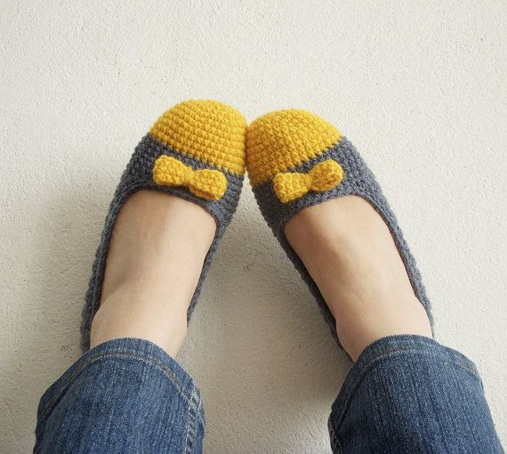 Grey Yellow Crocheted  house shoes, house slippers, women slippers