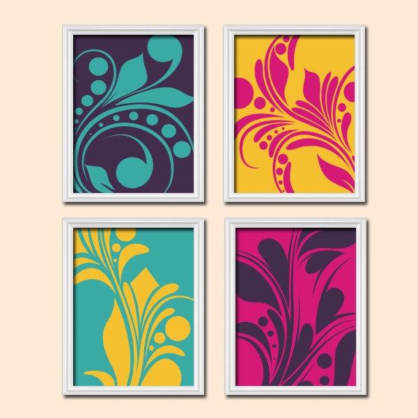 Aqua Gray Bedroom Wall Art Trellis Pattern Swirl Design