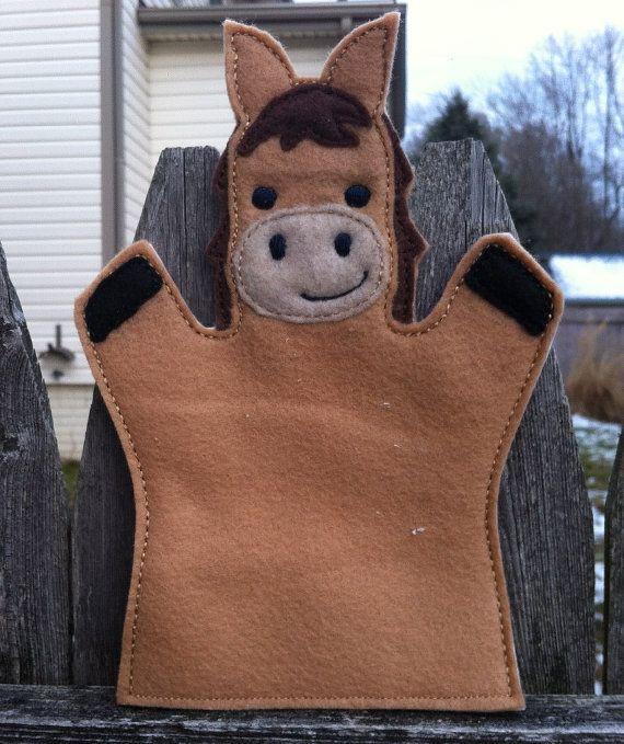 Horse  Farm Animal Felt Hand Puppet by ThatsSewPersonal on Etsy, $10.00