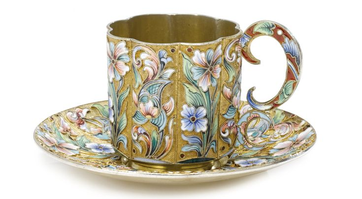 A Russian Gilded Silver and Shaded Enamel Cup and Saucer, Moscow, circa 1910   Lot   Sotheby's