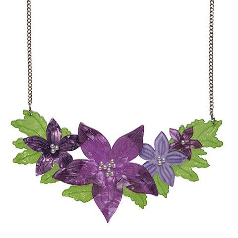 "Erstwilder Limited Edition Gloriosa Bluebell  Necklace. ""Representing Australia's Capital Territory with our eye-catching appearance. We're actually of a colour that cannot be reproduced on screen or film."""