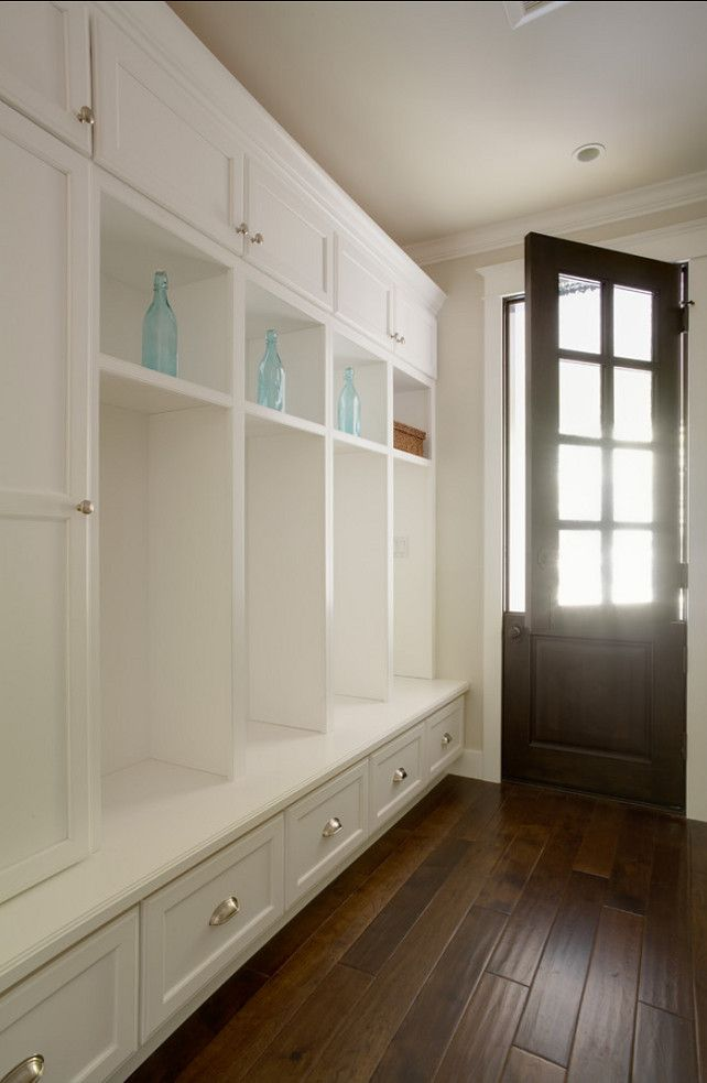 Open storage and shoe drawers below