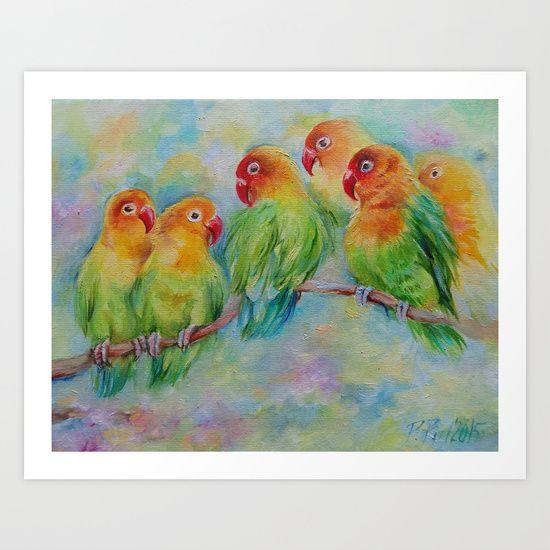 Parrots Art print for birds lovers #parrots #lovebirds #birds #wildlife #painting