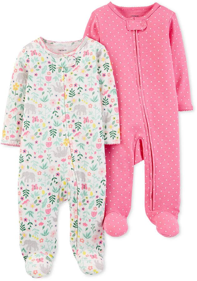 defc85d8 Baby Girls 2-Pk. Cotton Coveralls | Products | Carters baby ...