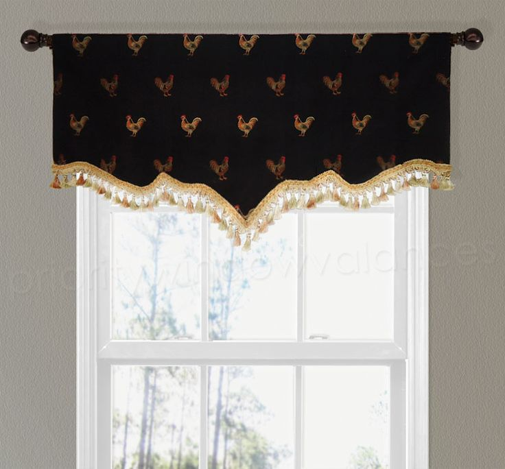 living room window valance ideas%0A Black and Gold Rooster Vermont Valance with tassel trim  Priority Window  Valances