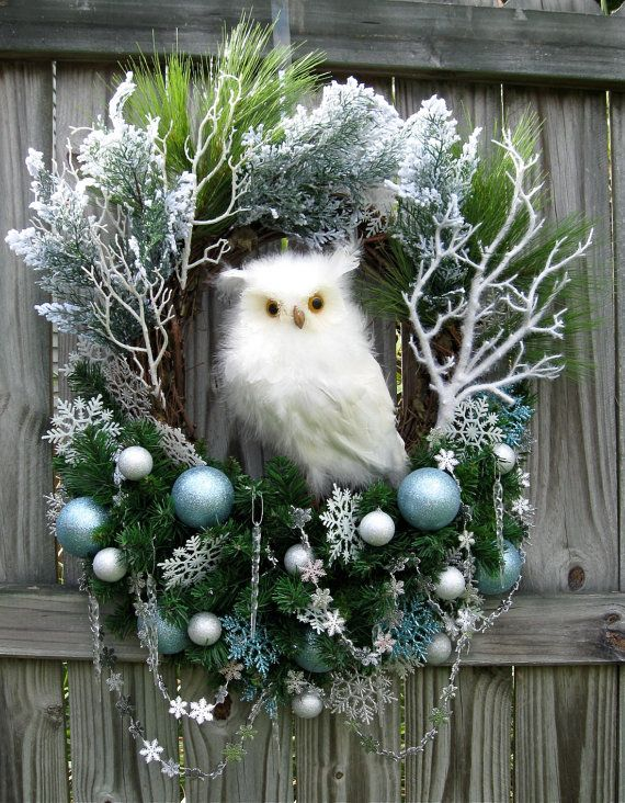 HUGE Winter Wonderland Snow Owl Christmas Wreath, blue, silver, white, White feathered Owl, rustic, woodland, cabin