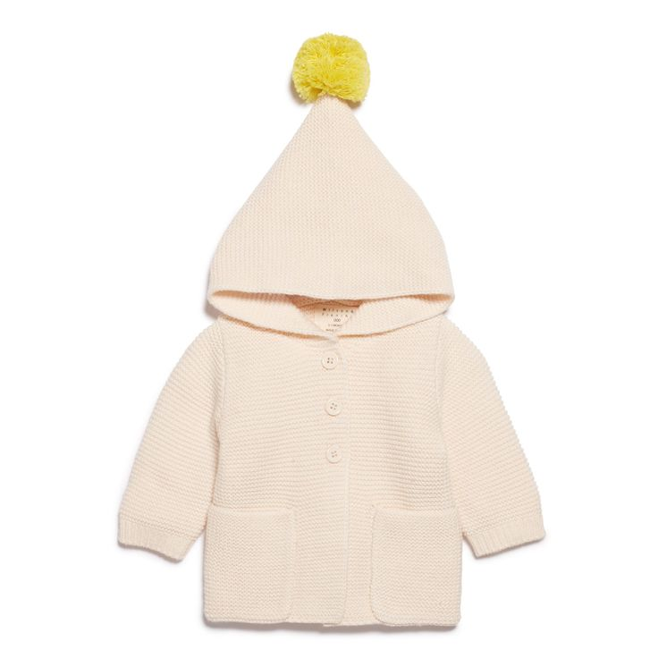 Knitted oatmeal jacket with hood and pineapple pom pom, for those crisp winter days.  #wilsonandfrenchy #babystyle #pompom #knitwear #baby #fashion #unisex #babylove #perfectbabies  #unisexbabyclothes  #newmum #babygift #babyshower #australiandesign #shopbaby #mumsunite #babylove #magicofchildhood #little