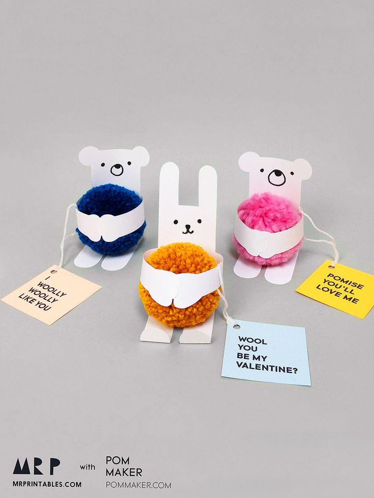Animal Valentine Cards with Pom-poms - Mr Printables X @pommaker