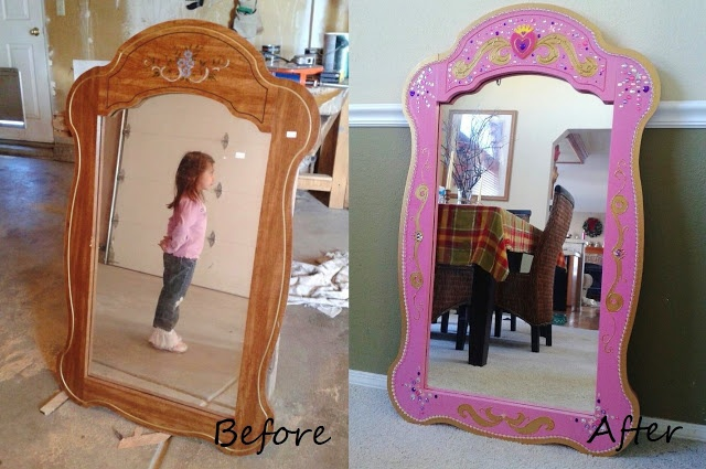 Princess mirror, thrift store makeover