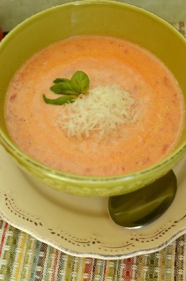 Tomato soup made with fresh tomatoes! So worth the little bit of extra work!