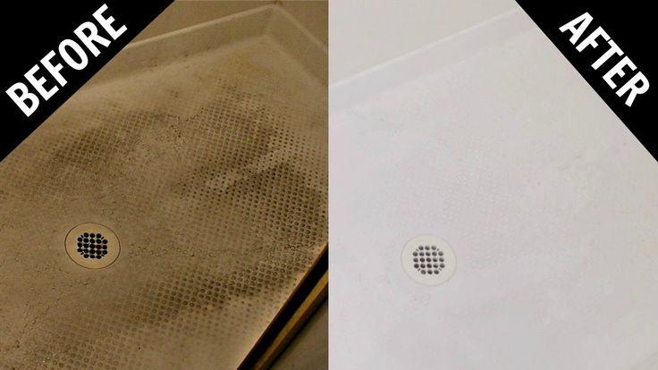 How To Clean Textured Fiberglass or Plastic Shower Floor - Baking Soda & White Vinegar - YouTube