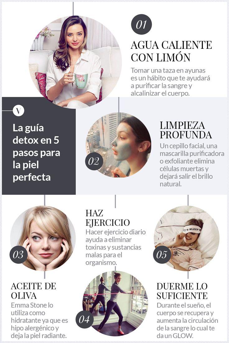 La guía detox en 5 pasos para la piel perfecta #Detox #Skin #SkinCare #Beauty #Belleza #Piel #PielBonita #TipsdeBelleza #Mascarilla #FaceMasks #AguaCalienteConLimon #AceiteDeOliva #BeautySleep #EmmaStone #Workout