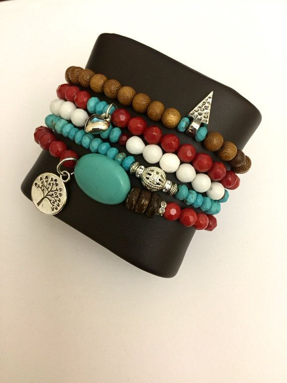 Turquoise Red Coral Madre de cacao Wood and White Beads