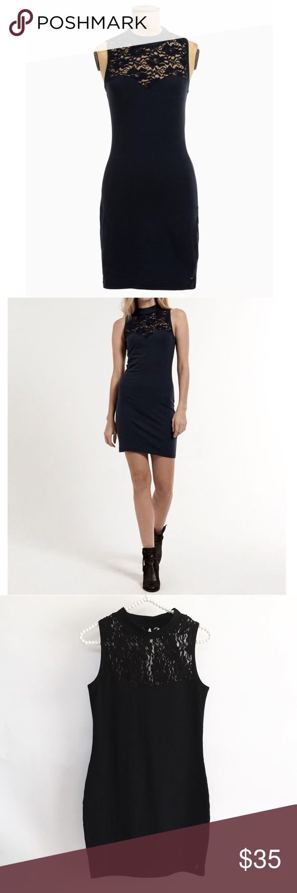 """💥FINAL💥 Superdry LBD Superdry Bodycon Dress.   A sleeveless bodycon dress with a sweetheart bustline featuring a delicate embroidered lace panel across the top of the dress and a keyhole back.  Finished with a Superdry metal logo badge above the hem.  Size is listed as """"One size"""" but definitely meant for XS/S Superdry Dresses"""