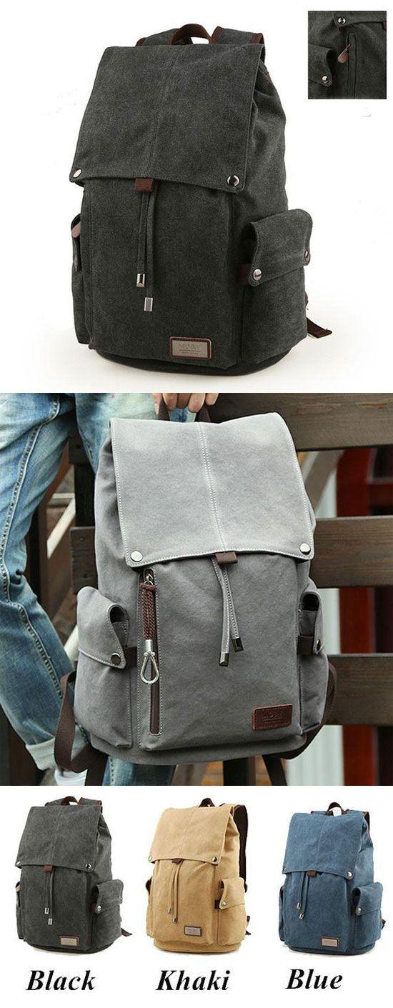 Retro Large Men's Canvas Drawstring Travel Laptop School Bag Hiking Backpack for big sale! #bag #Backpack #school #college #student #rucksack