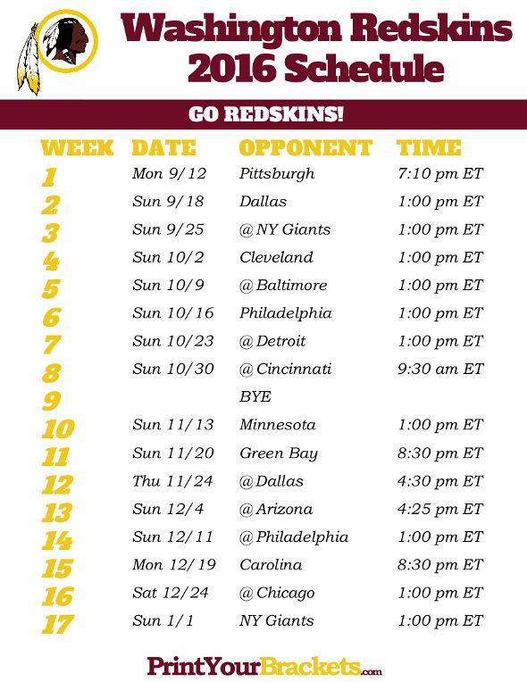 Printable Washington Redskins Schedule - 2016 Football Season