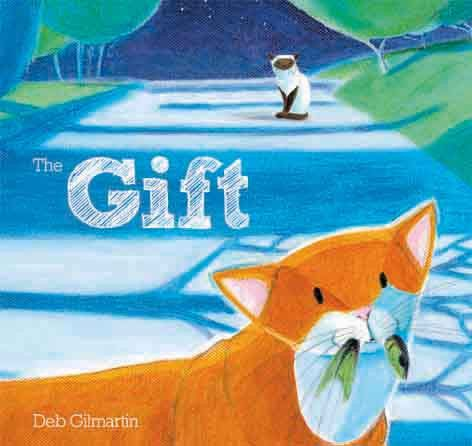 'The Gift' - a #childrensbook with #illustration and #words by #DebGilmartin. A tale of a #cat helping his #friend by bringing her #food. A beautiful tale about #friendship, #sharing and #caring.