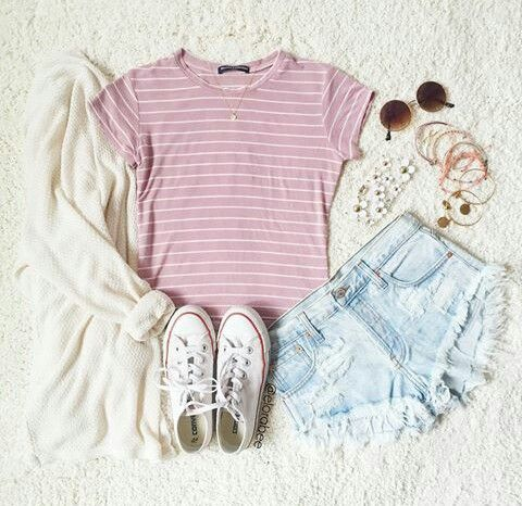 Pink Tee and Light Denim Shorts with White Cardigan and White Converse