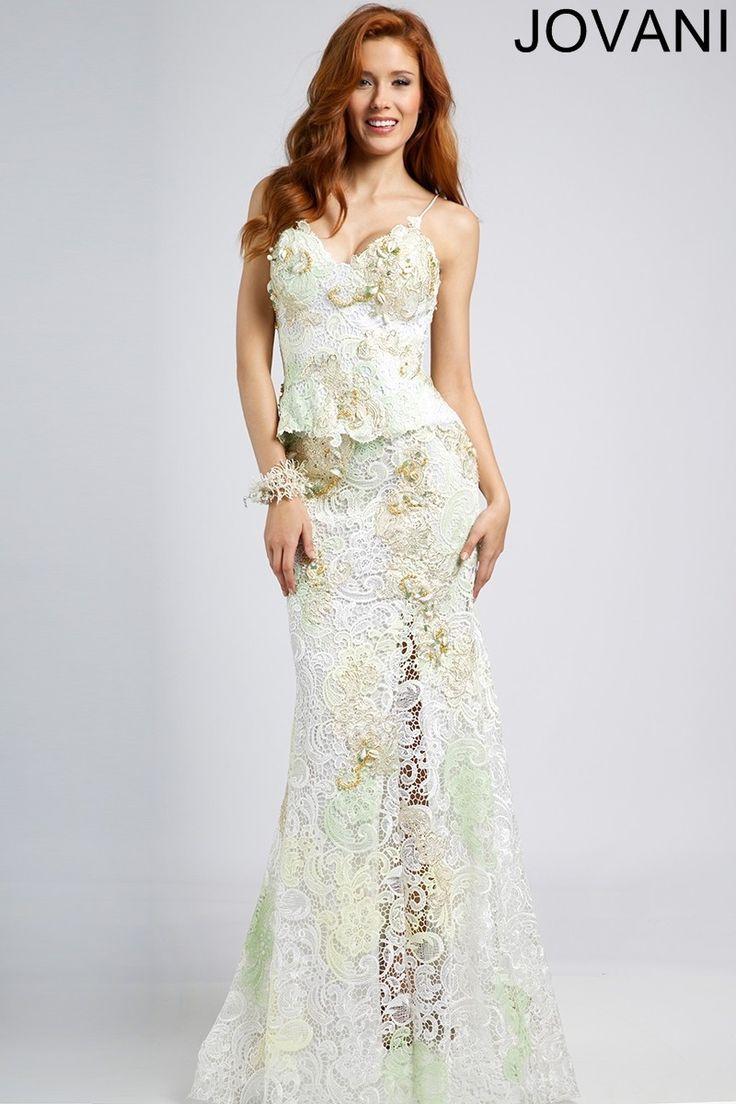 Jovani 90471 Spaghetti Strap Peplum Skirt Illusion Slit Column Silhouette | MadameBridal.com #jovani #promdress #prom Buy your Jovani Prom Dress from madamebridal.com